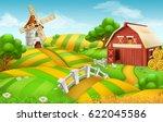 farm field landscape 3d vector... | Shutterstock .eps vector #622045586