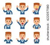 set of cartoon businessman... | Shutterstock .eps vector #622057580