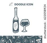 wine bottle doodle | Shutterstock .eps vector #622058924