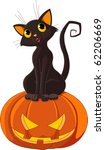 black  cat sitting on halloween ... | Shutterstock .eps vector #62206669