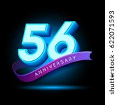 56th anniversary 3d text with... | Shutterstock .eps vector #622071593