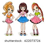 fashion girl set. hand drawn... | Shutterstock .eps vector #622073726