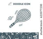 doodle tennis racket | Shutterstock .eps vector #622077230