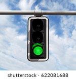 green traffic light against...   Shutterstock . vector #622081688