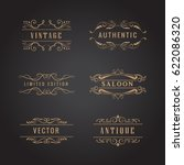set retro ornaments label... | Shutterstock .eps vector #622086320