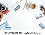 traveller set with coffee and... | Shutterstock . vector #622095770