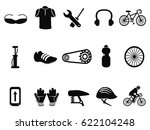 black bicycle icons set | Shutterstock .eps vector #622104248