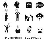 black angry icons set | Shutterstock .eps vector #622104278