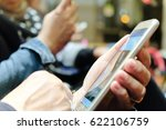 group of people using mobile... | Shutterstock . vector #622106759