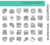 e learning elements   thin line ...   Shutterstock .eps vector #622109054