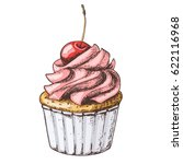 hand drawn vanilla cupcake with ... | Shutterstock .eps vector #622116968