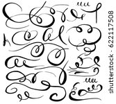 set of hand drawn calligraphic... | Shutterstock .eps vector #622117508