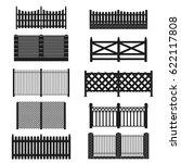 silhouette black fence icon set ... | Shutterstock .eps vector #622117808