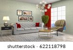 interior living room. 3d... | Shutterstock . vector #622118798