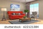 interior living room. 3d... | Shutterstock . vector #622121384