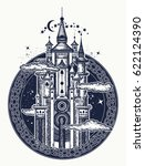 medieval castle tattoo art.... | Shutterstock .eps vector #622124390