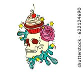 skull. cupcake. isolated vector ... | Shutterstock .eps vector #622124690