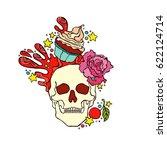 skull. cupcake. isolated vector ... | Shutterstock .eps vector #622124714