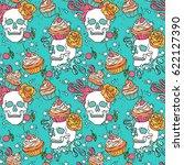 skull. cupcake. seamless vector ... | Shutterstock .eps vector #622127390