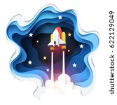 abstract of spaceship launch to ... | Shutterstock .eps vector #622129049