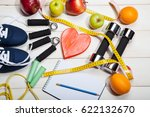 heart  dumbbells and fruits ... | Shutterstock . vector #622132670