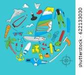 card of windsurfing. board...   Shutterstock . vector #622133030