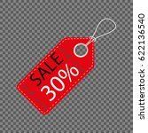 realistic discount red tag... | Shutterstock .eps vector #622136540