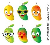 mango  face emojis  hello... | Shutterstock .eps vector #622137440