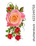 Stock photo flower composition a bouquet of delicate pink and yellow roses bright little red flowers 622144703