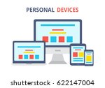 modern electronic devices.flat... | Shutterstock . vector #622147004