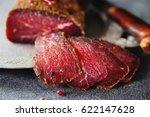 slices of cured spicy beef on... | Shutterstock . vector #622147628