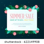 summer sale banner with leaves... | Shutterstock .eps vector #622149908