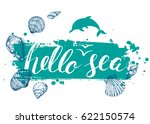 blue vector card with seashells ... | Shutterstock .eps vector #622150574