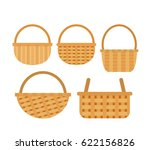Wicker Baskets Set On White...