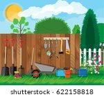 gardening tools set. equipment... | Shutterstock . vector #622158818
