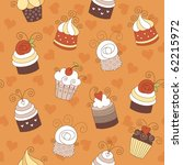seamless pattern with cute cakes   Shutterstock .eps vector #62215972