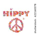 psychedelic hippy lettering... | Shutterstock . vector #622160378