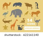 african animals stylized vector ... | Shutterstock .eps vector #622161140