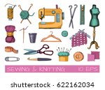 sketches of sewing and... | Shutterstock .eps vector #622162034