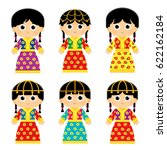 set of girls are wearing an old ... | Shutterstock .eps vector #622162184