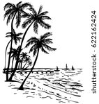 summer beach with palm trees ... | Shutterstock .eps vector #622162424