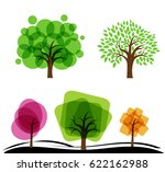 set of abstract trees. trees... | Shutterstock .eps vector #622162988