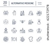 alternative medicine line icons.... | Shutterstock .eps vector #622172978