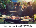 dinner party  barbecue and... | Shutterstock . vector #622178204