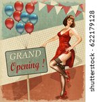 vintage poster   grand opening | Shutterstock . vector #622179128