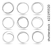 set of 9 hand drawn circles... | Shutterstock . vector #622195520
