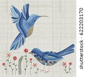 embroidery blue bird and pink... | Shutterstock .eps vector #622203170