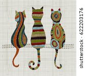 embroidery cats.  zentangle... | Shutterstock .eps vector #622203176
