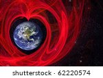 Earth in love nebula, star background Earth 3d reconstruction is used from NASA site - stock photo