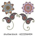 flower mandalas. paisley.... | Shutterstock .eps vector #622206404
